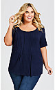 Plus Size Pleated Knit Top - navy