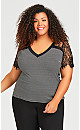 Plus Size Lace Shoulder Strap Top - white