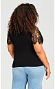Plus Size Lace Shoulder Strap Top - black
