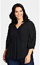Plus Size Lace Trim Top - black