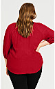 Lace Trim Top - red