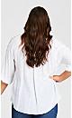 Plus Size Lace Trim Top - white