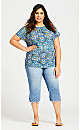 Plus Size Mixed Media Short Sleeve Top - blue