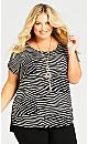 Plus Size Mixed Media  Zebra Top - black