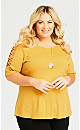 Plus Size Crossover Caged Sleeve Top - amber