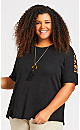 Plus Size Crossover Caged Sleeve Top - black