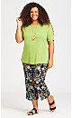 Plus Size Crossover Caged Sleeve Top - chartreuse