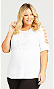 Plus Size Crossover Caged Sleeve Top - white