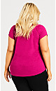 Plus Size 3 Bar V Tunic - rose