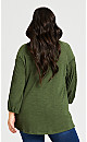 Plus Size Embroidered Peasant Tunic - khaki
