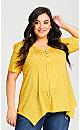 Plus Size Knit Sharkbite Tunic - lemon