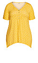 Plus Size Sharkbite Knit Tunic - lemon