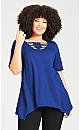 Plus Size Knotted Cage Tunic - cobalt