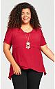 Plus Size Mylah Layered Tunic - red