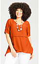 Plus Size Mylah Layered Tunic - orange