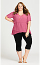 Plus Size Mylah Layered Tunic - raspberry