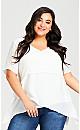 Plus Size Mylah Layered Tunic - white