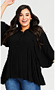 Plus Size Dobby Popover Tunic - black