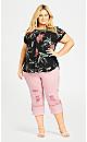 Plus Size Embroidered Turn Up Capri - blush