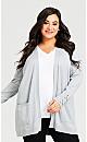 Plus Size Pocket Long Cardigan - light grey