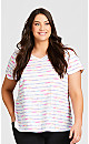 Plus Size Striped Tee - pink