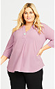 Plus Size Large Button Top - musk
