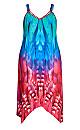 Plus Size Summer Trapeze Dress - blue