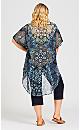 Plus Size Tiarne Beaded Kimono - navy