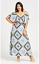 Plus Size Off Shoulder Maxi Dress - ivory