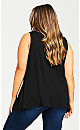 Plus Size Aria Pleat Front Top - black
