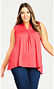 Aria Pleat Front Top - scarlet