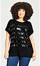 Plus Size Maddie Sequin Top - black