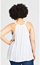 Plus Size Ruffle Front Top - white