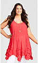Plus Size Kaya Frill Hem Tunic - scarlet