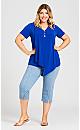 Plus Size Sadie Button Tunic - cobalt