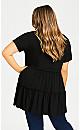 Plus Size Tiered Plain Tunic - black