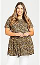 Plus Size Tiered Print Tunic - animal