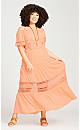 Plus Size Sophie Lace Trim Dress - peach