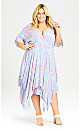 Plus Size Charlotte Hanky Hem Dress - sky