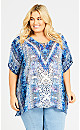 Plus Size Brooke Beaded Kaftan - blue