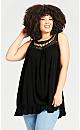 Plus Size Rosali Crochet Tunic - black