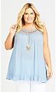 Plus Size Rosali Crochet Tunic - sky