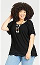 Plus Size Payton Embroidered Top - black