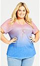Plus Size Victoria Ombre Necklace Top - pink