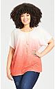Plus Size Victoria Ombre Top - peach