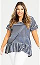 Plus Size Rowan Stripe Top - navy