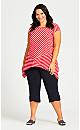 Plus Size Mariah Hanky Hem Tunic - red