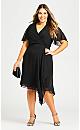 Plus Size Leah Flutter Dress - black