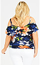 Plus Size Cold Shoulder Ruffle Print Top - navy