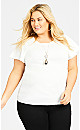 Plus Size Flutter Stretch Top - ivory